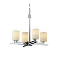 CandleAria 4 Light 23 inch Polished Chrome Chandelier Ceiling Light in Cream (CandleAria), Cylinder with Flat Rim