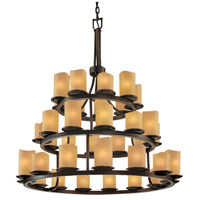 CandleAria 36 Light Dark Bronze Chandelier Ceiling Light in Cylinder with Melted Rim, Amber (CandleAria)