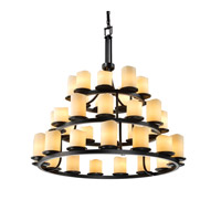 CandleAria 36 Light 42 inch Matte Black Chandelier Ceiling Light in Cylinder with Melted Rim, Cream (CandleAria)