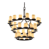 Justice Design CandleAria Dakota 36-Light 3-Tier Ring Chandelier (Inverted) in Dark Bronze CNDL-8713-14-AMBR-DBRZ