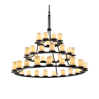 CandleAria 45 Light 60 inch Dark Bronze Chandelier Ceiling Light in Cylinder with Melted Rim, Cream (CandleAria)