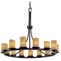 Justice Design CandleAria Dakota 15-Light 1-Tier Ring Chandelier in Dark Bronze CNDL-8715-14-AMBR-DBRZ