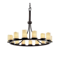 Justice Design CandleAria Dakota 15-Light 1-Tier Ring Chandelier in Dark Bronze CNDL-8715-14-CREM-DBRZ