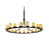 Justice Design CNDL-8716-14-AMBR-DBRZ CandleAria 21 Light Dark Bronze Chandelier Ceiling Light in Cylinder with Melted Rim, Amber (CandleAria) photo thumbnail