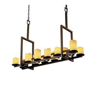 Justice Design CandleAria Dakota 12-Up & 5-Downlight Bridge Chandelier (Tall) in Dark Bronze CNDL-8719-14-AMBR-DBRZ