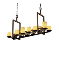 Justice Design CandleAria Dakota 12-Up & 5-Downlight Bridge Chandelier (Short) in Dark Bronze CNDL-8720-14-AMBR-DBRZ