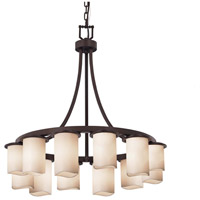 Justice Design CNDL-8739-14-CREM-DBRZ Candlearia 12 Light 28 inch Dark Bronze Chandelier Ceiling Light in Cream (CandleAria) Cylinder with Melted