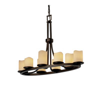 Justice Design CandleAria Dakota 8-Light Oval Ring Chandelier in Dark Bronze CNDL-8751-14-CREM-DBRZ