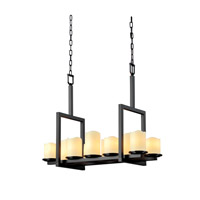 Justice Design CandleAria Dakota 10-Light Bridge Chandelier in Matte Black CNDL-8757-14-CREM-MBLK