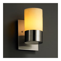 Justice Design CNDL-8761-10-AMBR-NCKL CandleAria 1 Light 5 inch Brushed Nickel Wall Sconce Wall Light in Cylinder with Flat Rim, Amber (CandleAria) photo thumbnail