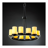 Justice Design CNDL-8763-10-AMBR-MBLK CandleAria 12 Light 28 inch Matte Black Chandelier Ceiling Light in Cylinder with Flat Rim, Amber (CandleAria) photo thumbnail
