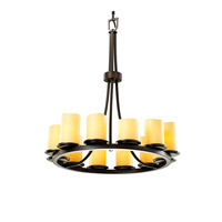 CandleAria 12 Light Dark Bronze Chandelier Ceiling Light in Amber (CandleAria), Cylinder with Melted Rim