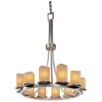 Justice Design CNDL-8763-14-AMBR-NCKL CandleAria 12 Light Brushed Nickel Chandelier Ceiling Light in Cylinder with Melted Rim, Amber (CandleAria) photo thumbnail