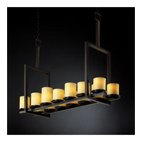 Justice Design CandleAria Dakota 14-Light Bridge Chandelier (Tall) in Dark Bronze CNDL-8764-10-AMBR-DBRZ