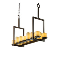 Justice Design CandleAria Dakota 14-Light Bridge Chandelier (Tall) in Dark Bronze CNDL-8764-14-AMBR-DBRZ