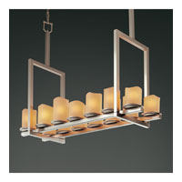 Justice Design CandleAria Dakota 14-Light Bridge Chandelier (Tall) in Brushed Nickel CNDL-8764-14-AMBR-NCKL
