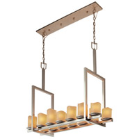 Justice Design CandleAria Dakota 14-Light Bridge Chandelier (Tall) in Brushed Nickel CNDL-8764-14-CREM-NCKL