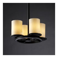 Justice Design CandleAria Dakota 4-Light Ring Chandelier in Matte Black CNDL-8765-10-CREM-MBLK