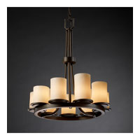 CandleAria 9 Light Dark Bronze Chandelier Ceiling Light in Cylinder with Flat Rim, Cream (CandleAria)