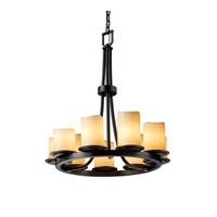 Justice Design CandleAria Dakota 9-Light Ring Chandelier in Matte Black CNDL-8766-14-CREM-MBLK