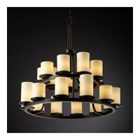 Justice Design CandleAria Dakota 21-Light 2-Tier Ring Chandelier in Dark Bronze CNDL-8767-10-CREM-DBRZ