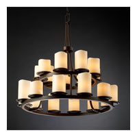 Justice Design CandleAria Dakota 21-Light 2-Tier Ring Chandelier in Dark Bronze CNDL-8767-14-CREM-DBRZ