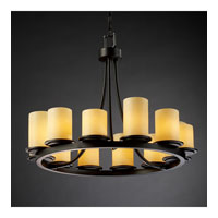 Justice Design CandleAria Dakota 12-Light Ring Chandelier (Short) in Matte Black CNDL-8768-10-AMBR-MBLK