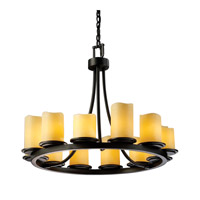Justice Design CNDL-8768-14-AMBR-MBLK CandleAria 12 Light Matte Black Chandelier Ceiling Light in Cylinder with Melted Rim, Amber (CandleAria) photo thumbnail
