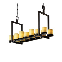 CandleAria 14 Light 13 inch Dark Bronze Chandelier Ceiling Light in Amber (CandleAria), Cylinder with Flat Rim