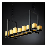 Justice Design CandleAria Dakota 14-Light Bridge Chandelier (Short) in Matte Black CNDL-8769-14-AMBR-MBLK