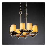 CandleAria 8 Light 22 inch Brushed Nickel Chandelier Ceiling Light in Cylinder with Flat Rim, Amber (CandleAria)