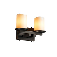 Justice Design CandleAria Dakota 2-Light Straight-Bar Bath Bar in Dark Bronze CNDL-8772-14-CREM-DBRZ
