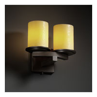 Justice Design CandleAria Dakota 2-Light Curved-Bar Wall Sconce in Dark Bronze CNDL-8775-10-AMBR-DBRZ