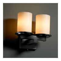 Justice Design CandleAria Dakota 2-Light Curved-Bar Wall Sconce in Matte Black CNDL-8775-10-CREM-MBLK