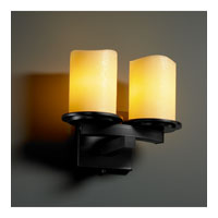 Justice Design CandleAria Dakota 2-Light Curved-Bar Wall Sconce in Matte Black CNDL-8775-14-AMBR-MBLK