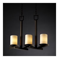 Justice Design CandleAria Dakota 3-Light Zig-Zag Chandelier in Dark Bronze CNDL-8777-10-CREM-DBRZ