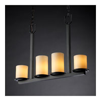 Justice Design CandleAria Dakota 4-Light Bar Chandelier in Matte Black CNDL-8778-10-CREM-MBLK