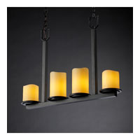 Justice Design CandleAria Dakota 4-Light Bar Chandelier in Matte Black CNDL-8778-14-AMBR-MBLK