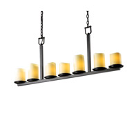 Justice Design CandleAria Dakota 7-Light Bar Chandelier in Dark Bronze CNDL-8779-14-CREM-DBRZ