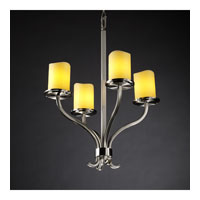 Justice Design CandleAria Sonoma 4-Light Chandelier in Brushed Nickel CNDL-8780-14-AMBR-NCKL