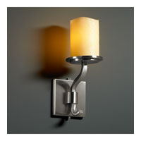 Justice Design CNDL-8781-14-AMBR-NCKL CandleAria 1 Light 5 inch Brushed Nickel Wall Sconce Wall Light in Cylinder with Melted Rim, Amber (CandleAria) photo thumbnail