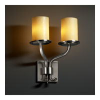CandleAria 2 Light 13 inch Brushed Nickel Wall Sconce Wall Light in Cylinder with Flat Rim, Amber (CandleAria)