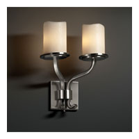 CandleAria 2 Light 13 inch Brushed Nickel Wall Sconce Wall Light in Cylinder with Melted Rim, Cream (CandleAria)