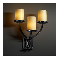 Justice Design CandleAria Sonoma 3-Light Wall Sconce in Matte Black CNDL-8783-10-AMBR-MBLK