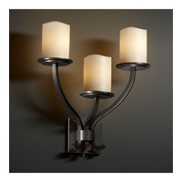 Justice Design CandleAria Sonoma 3-Light Wall Sconce in Dark Bronze CNDL-8783-14-CREM-DBRZ