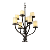Justice Design CNDL-8788-14-CREM-DBRZ CandleAria 8 Light 27 inch Dark Bronze Chandelier Ceiling Light in Cylinder with Melted Rim, Cream (CandleAria) photo thumbnail
