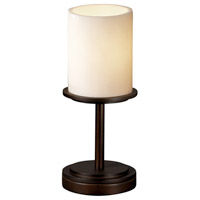 CandleAria 12 inch 60 watt Dark Bronze Table Lamp Portable Light in Cylinder with Flat Rim, Cream (CandleAria)