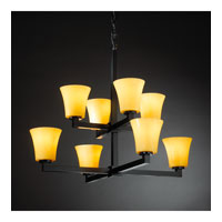 Justice Design CandleAria Modular 8-Light 2-Tier Chandelier in Matte Black CNDL-8828-20-AMBR-MBLK