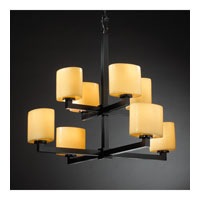 Justice Design CandleAria Modular 8-Light 2-Tier Chandelier in Matte Black CNDL-8828-30-AMBR-MBLK