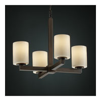CandleAria 4 Light Dark Bronze Chandelier Ceiling Light in Cylinder with Melted Rim, Cream (CandleAria)
